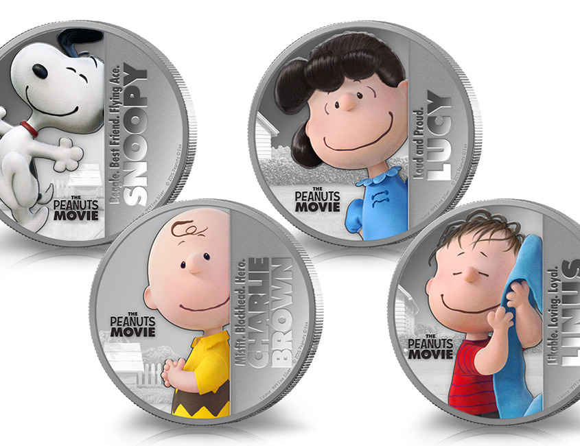 All Four Peanuts Movie Coins