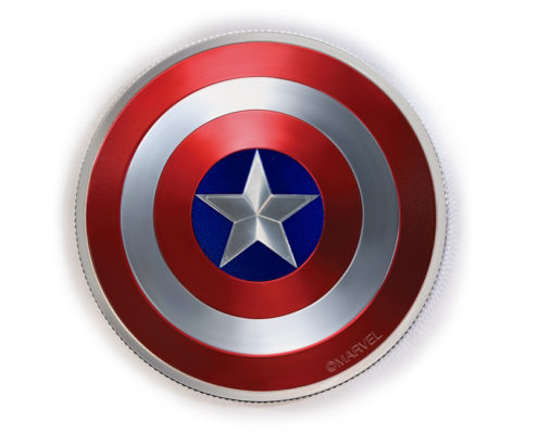 Captain America 2oz Domed Coin-Front